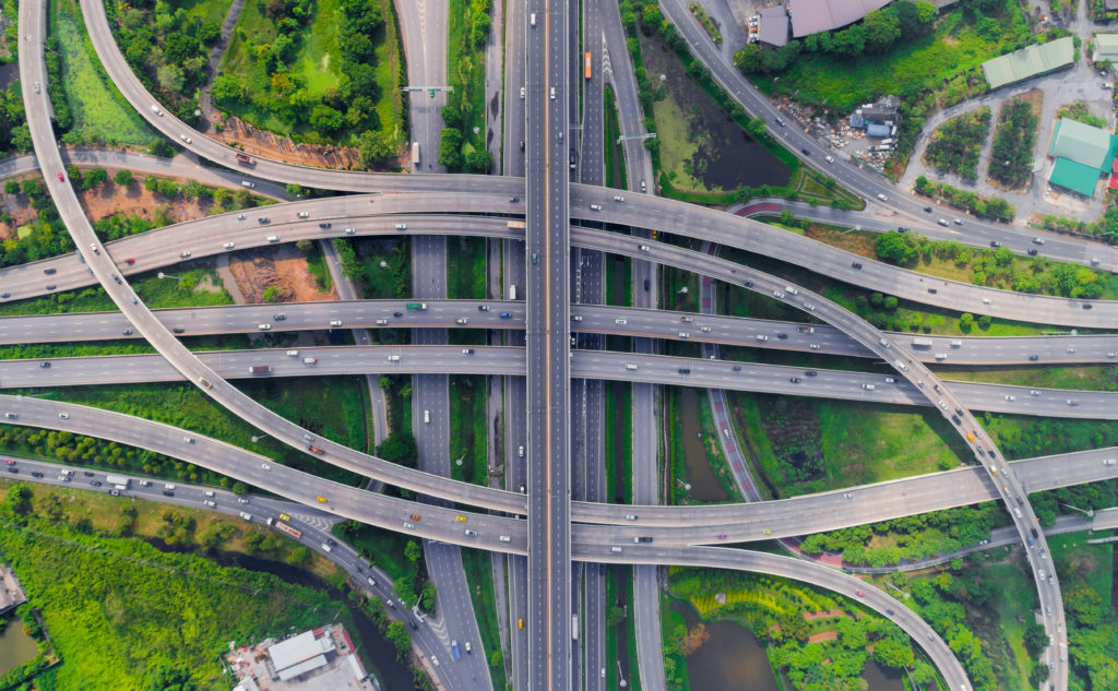 Overlapping and intersecting view of highways from above