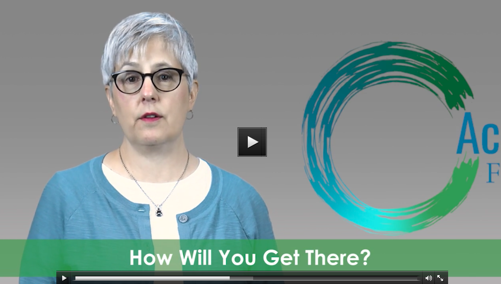 """Video screenshot of Sue talking - text reads """"How will you get there?"""""""