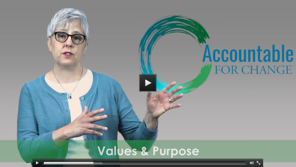 """Video screenshot of Sue talking with text """"Values and purpose"""""""